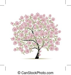 printemps, conception, fleurs, arbre, ton