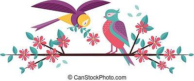printemps, couple, arbre, oiseaux, branche