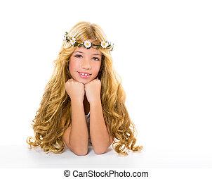 printemps, couronne, blonds, pâquerette, girl, fleurs, enfants