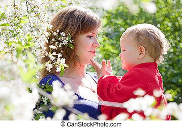 printemps, enfant, mère