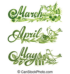 printemps, ensemble, nom, mois