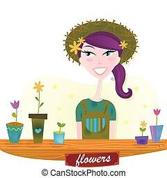 printemps, femme, fleurs, jardin