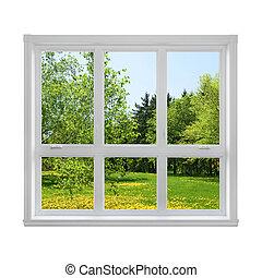 printemps, fenêtre, par, paysage, vu