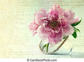 printemps, fleurs blanches, fond, vase