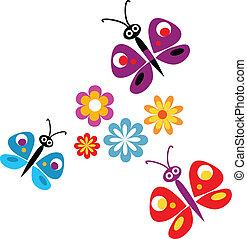 printemps, fleurs, illustration, vecteur, papillons