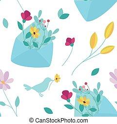 printemps, flowers., arrière-plan., seamless, enveloppe
