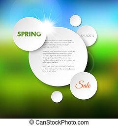 printemps, fond, vecteur, vente
