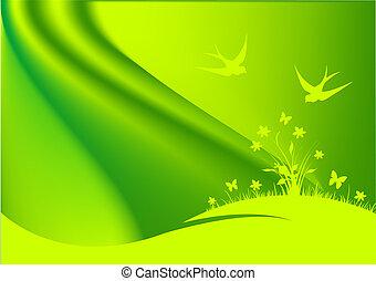 printemps, fond, vert