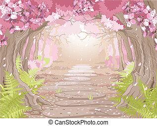 printemps, forêt, magie