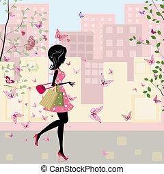 printemps, girl, achats