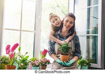 printemps, heureux, day., famille