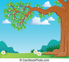 printemps, image, arbre 1, thème, branche