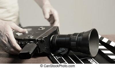 printemps, mécanisme, appareil photo, retro, film, obtient, homme