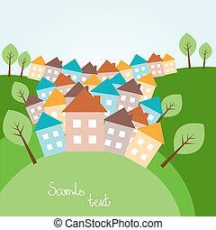 printemps, maisons, paysage, illustration, vallonné