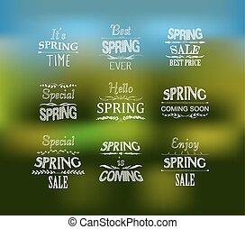 printemps, mettez stylique, typographique