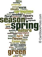 printemps, mot, nuage