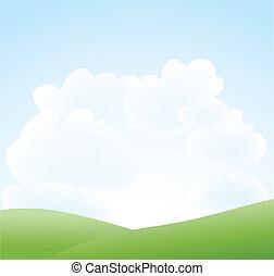 printemps, nuage ciel, paysage