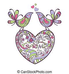 printemps, oiseaux, coeur