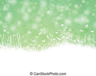 printemps, papillons, paysage