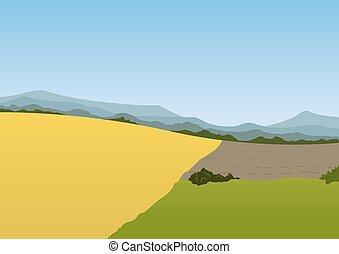 printemps, paysage, montagne