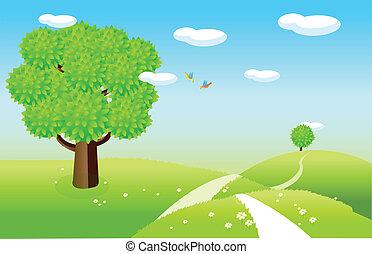 printemps, paysage, vert, champs