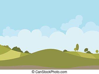 printemps, paysage vert