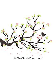 printemps, prunier, oiseaux, aimer