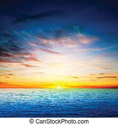 printemps, résumé, mer, fond, levers de soleil