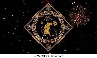 printemps, rendre, vidéo, animation., fond, lunaire, seamless, année, noir, boucle, doré, scintillement, vacances, toile de fond, chinois, 3d, nuit, event., stars., feux artifice, année, étoilé, festival, rat, nouveau, 4k