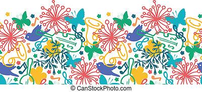 printemps, seamless, symphonie, musique, modèle fond, horizontal