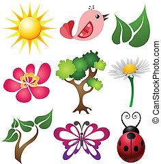 printemps, symbole, ensemble