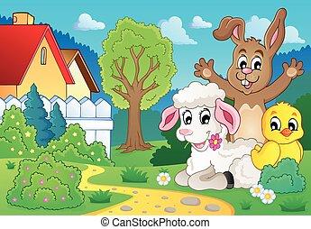 printemps, thème, 2, animaux, image