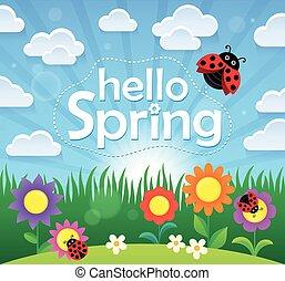printemps, thème, 2, bonjour, image