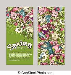 printemps, thème, ensemble, bannières, vertical