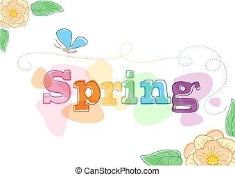 printemps, themed, graphique, saisonnier