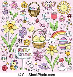 printemps, vecteur, paques, fleur, doodles