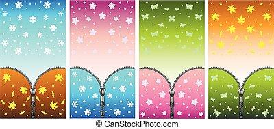 printemps, vecteur, plein-couleur, printemps, hiver, smartphone, ensemble, symbolizing, été, zipper., -, automne, images, saisons, transition, quatre, changement, arrière-plans, été, winter.