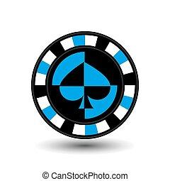 prints..., complet, illustration, sites web, isolé, bêche, presse, eps, icône, biue, vector., poker, arrière-plan., chips, usage, conception, 10, blanc