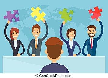 prise, affaires gens, laissez perplexe morceau, équipe, solution, concept