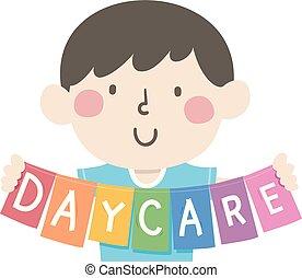 prise, daycare, illustration, gosse