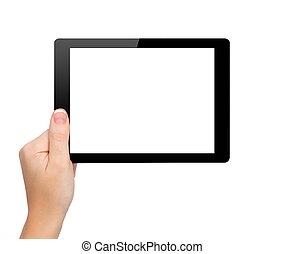 prise, femme, tablette, isolé, écran, mini, main