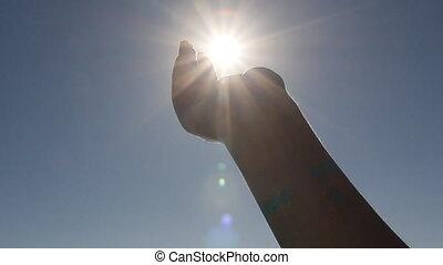 prise, soleil, mains