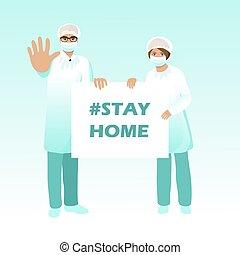 prise, stop., chanter, complet, coronavirus, infirmière, covid-19., banner., docteur, éruption, situation., prévention, masque protecteur