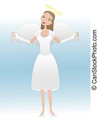 prise vol, dessin animé, ange, femme