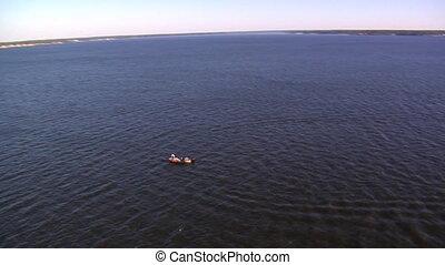 prise vue aérienne, bateau pêche, homme
