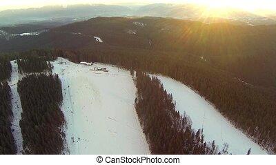 prise vue aérienne, descendant ski