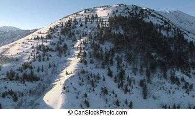 prise vue aérienne, montagnes, neigeux