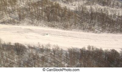 prise vue aérienne, skieur