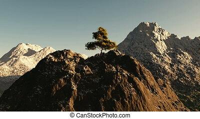 prise vue aérienne, sommet montagne