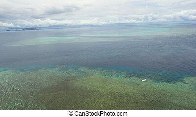 prise vue large, corail, eau océan, récif, sous